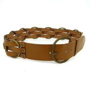 Vintage L-XL Wide Leather Strap Belt Brass Rings